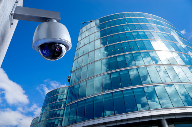 CCTV camera outside office building