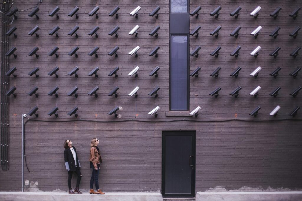 multiple security cameras fitted on the wall