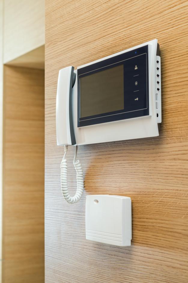 video door phone with screen wall wood