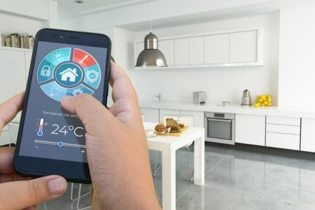 Person operating AC via smart home wifi solution